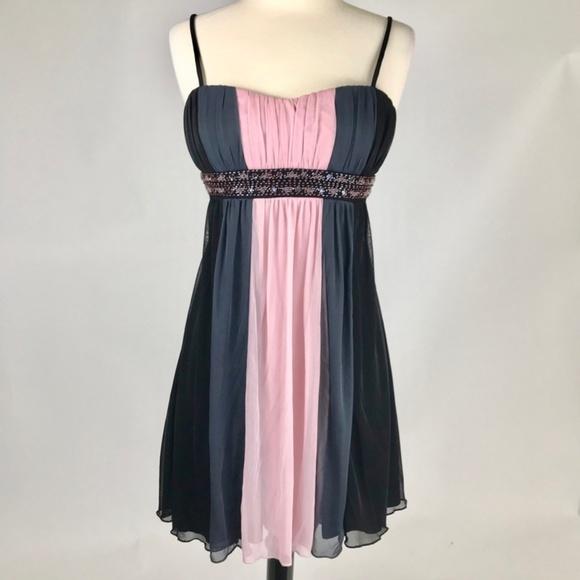 City Triangles Dresses & Skirts - Short Empire Cocktail Dress Black Pink Grey NWOT